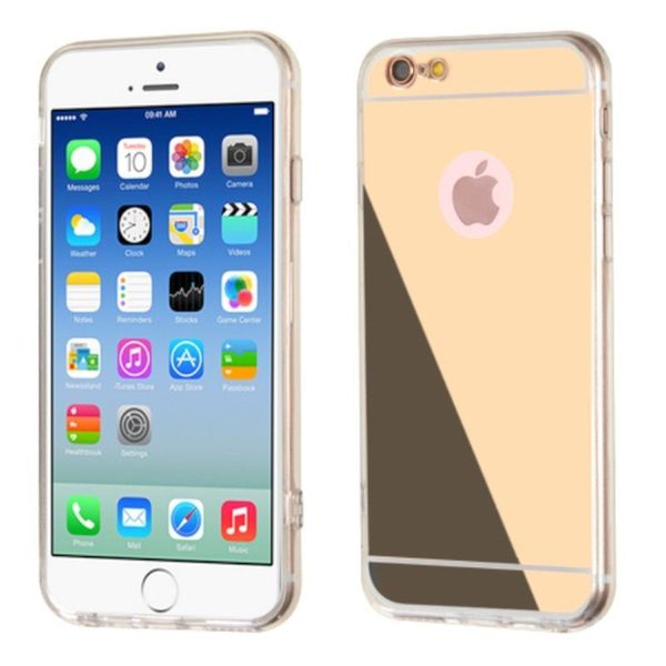 Insten Clear/Gold TPU Rubber Candy Skin Case Cover For Apple iPhone 6/6s