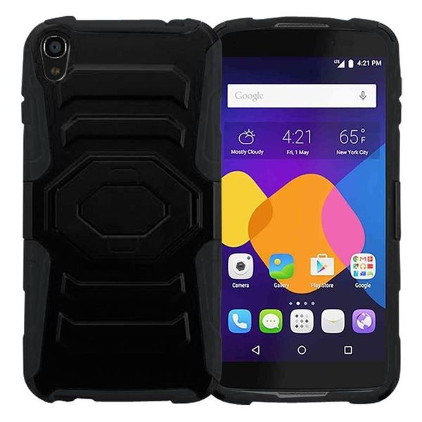 Insten Black Hard PC/ Silicone Dual Layer Hybrid Case Cover with Holster For Alcatel One Touch Idol 3 (5.5)