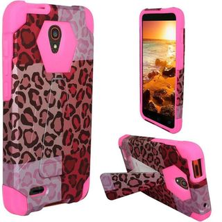 Insten Hot Pink Exotic Cheetah Hard PC/ Silicone Dual Layer Hybrid Case Cover with Stand For Alcatel One Touch Conquest