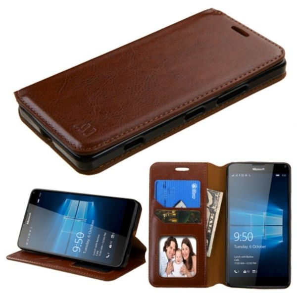 Insten Leather Case Cover with Stand/Wallet Flap Pouch/Photo Display For Microsoft Lumia 950