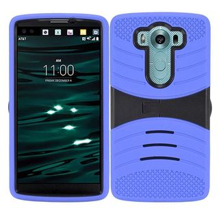 Insten Symbiosis Soft Silicone PC Dual Layer Hybrid Rubber Case Cover with Stand For LG V10