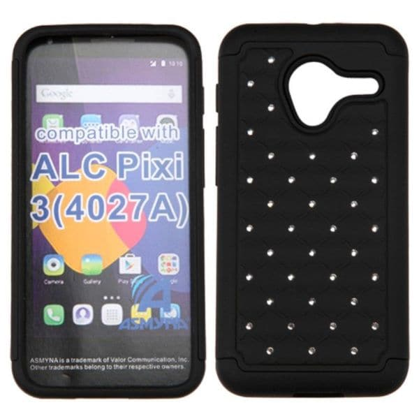 Insten hard PC Silicone Dual Layer Hybrid Rubberized Matte Case Cover with Diamond For Alcatel One Touch Pixi 3