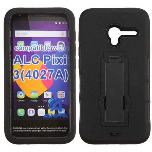 Insten Black Symbiosis Soft Silicone/ PC Dual Layer Hybrid Rubber Case Cover with Stand For Alcatel One Touch Pixi 3