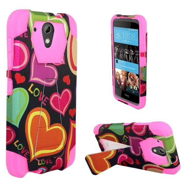 Insten Black/ Hot Pink Multi Hearts Hard PC/ Silicone Dual Layer Hybrid Case Cover with Stand For HTC Desire 520