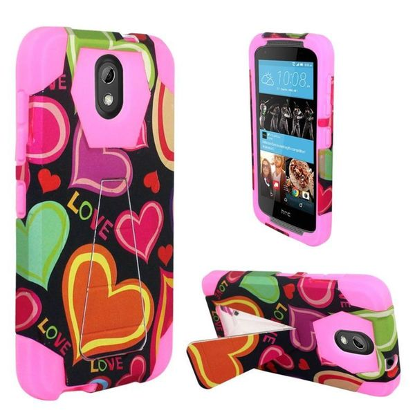 Insten Black/ Hot Pink Multi Hearts Hard PC/ Silicone Dual Layer Hybrid Case Cover with Stand For HTC Desire 526