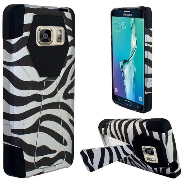 Insten Black/ White Zebra Hard PC/ Silicone Dual Layer Hybrid Case Cover with Stand For Samsung Galaxy S6 Edge Plus