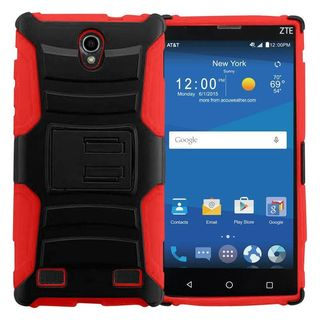 Insten hard PC Silicone Dual Layer Hybrid Case Cover with Holster For ZTE ZMAX 2