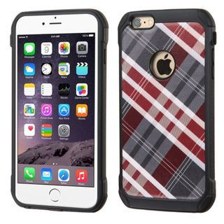 Insten Diagonal Plaid Hard PC/ Silicone Dual Layer Hybrid Rubberized Matte Case Cover For Apple iPhone 6 Plus/ 6s Plus
