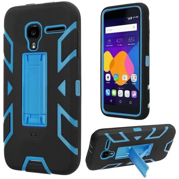 Insten Black/Blue Soft Silicone/ PC Dual Layer Hybrid Rubber Case Cover with Stand For Alcatel One Touch Pixi 3