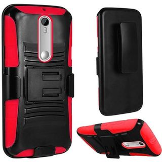 Insten hard PC Silicone Dual Layer Hybrid Case Cover with Holster For Motorola Moto X Play