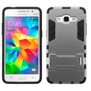 Insten hard PC Silicone Dual Layer Hybrid Rubberized Matte Case Cover with Stand For Samsung Galaxy Grand Prime