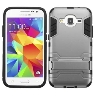 Insten hard PC Silicone Dual Layer Hybrid Rubberized Matte Case Cover with Stand For Samsung Galaxy Core Prime