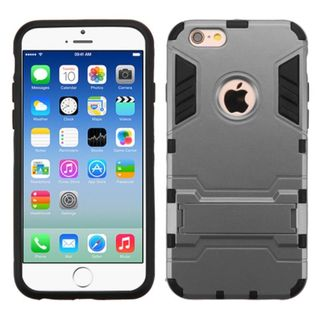 Insten hard PC Silicone Dual Layer Hybrid Rubberized Matte Case Cover with Stand For Apple iPhone 6/6s