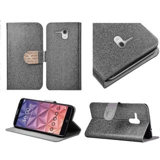 Insten Leather Glitter Case Cover with Stand/Diamond For Alcatel One Touch Fierce XL