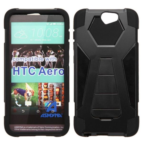 Insten Black Hard PC/ Silicone Dual Layer Hybrid Case Cover with Stand For HTC One A9
