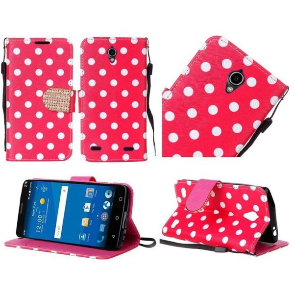 Insten Red/White Polka Dots Leather Case Cover Lanyard with Stand/Diamond For ZTE ZMAX 2