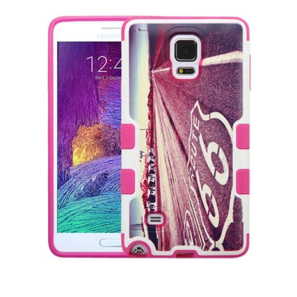 Insten Hot Pink/ White Historic Route 66 Hard Snap-on Rubberized Matte Case Cover For Samsung Galaxy Note 4