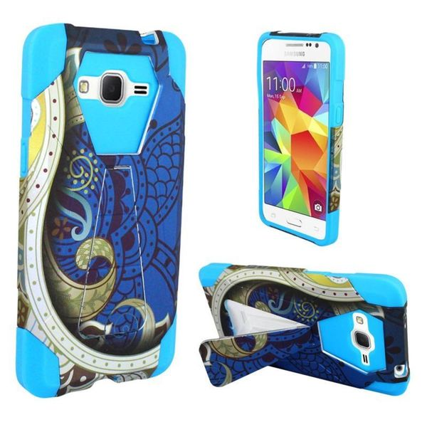 Insten hard PC Silicone Dual Layer Hybrid Case Cover with Stand For Samsung Galaxy Grand Prime