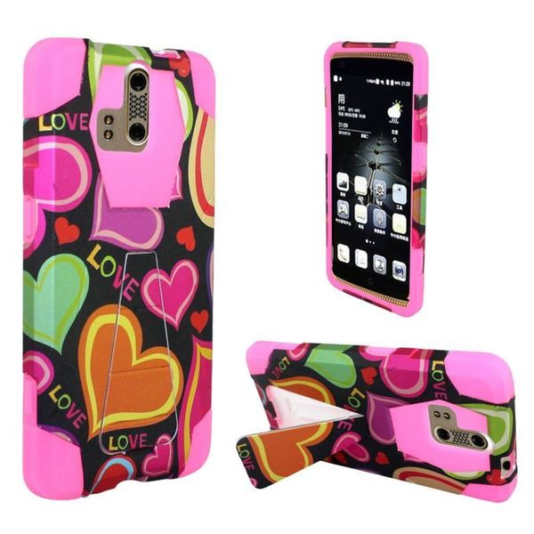 Insten Black/Hot Pink Multi Hearts Hard PC/ Silicone Dual Layer Hybrid Case Cover with Stand For ZTE Axon Pro