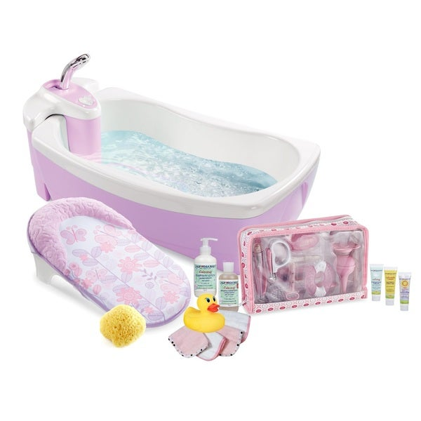 Summer Infant 4-Stage Lil' Luxuries Baby Bubbling Spa Bath and 32-Piece Pamper Baby Care Set