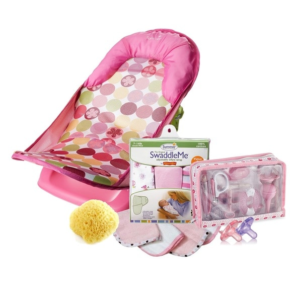 Summer Infant Deluxe Baby Bath and Bed 32-Piece Set in Pink