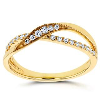 Annello 10k Yellow Gold 1/6ct TDW Diamond Fashion Ring (H-I, I2)