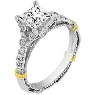 Verragio 14k Two-tone Gold Cubic Zirconia Center and 1/4ct TDW Diamonds Side Stone Semi-mount Ring (VS1-VS2, F-G)