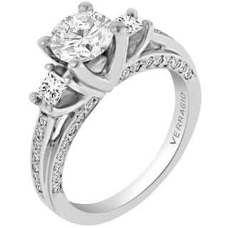 Verragio 18k White Gold Cubic Zirconia and 5/8ct TDW Diamond 3-stone Semi-mount Ring (G-H, VS1-VS2)
