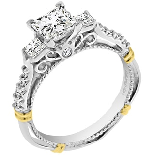 14k Two-tone Verragio Cubic Zirconia and 2/5ct TDW 3-stone Semi Mount Engagement Ring (G-H, SI1-SI2)