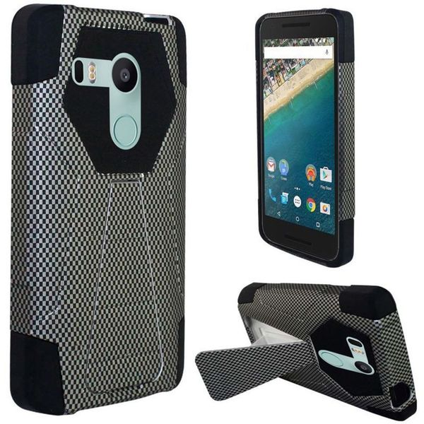 Insten Black Carbon Fiber Hard PC/ Silicone Dual Layer Hybrid Case Cover with Stand For LG Google Nexus 5X