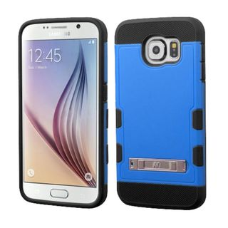 Insten Hard PC/ Silicone Rubberized Matte Case Cover with Stand For Samsung Galaxy S6