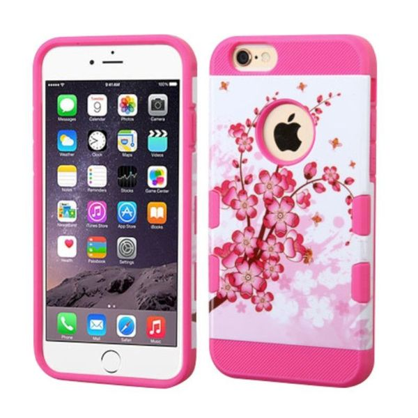 Insten Hot Pink/ White Spring Flowers Hard Snap-on Case Cover For Apple iPhone 6 Plus/ 6s Plus