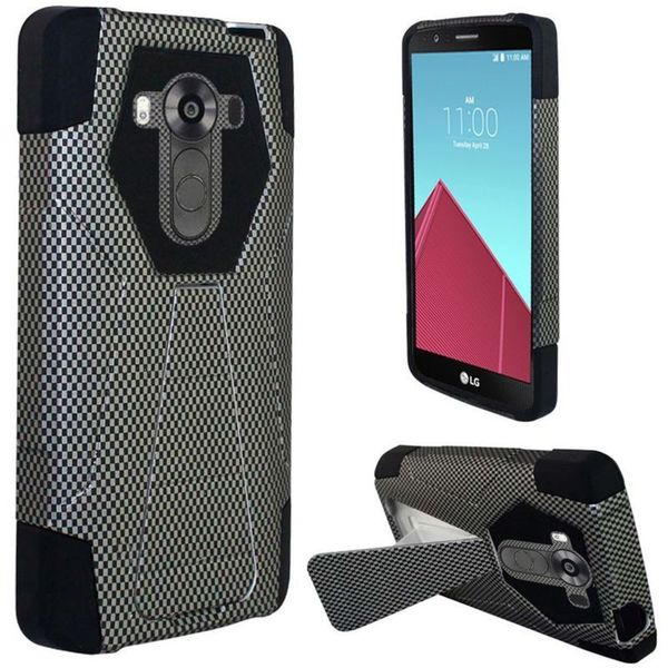 Insten Black Carbon Fiber Hard PC/ Silicone Dual Layer Hybrid Case Cover with Stand For LG G4 Pro