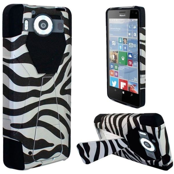 Insten Black/White Zebra Hard PC/ Silicone Dual Layer Hybrid Case Cover with Stand For Microsoft Lumia 950
