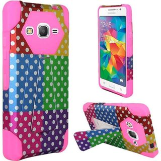Insten Colorful/Hot Pink Polka Dots Hard PC/ Silicone Dual Layer Hybrid Case Cover with Stand For Samsung Galaxy Grand Prime