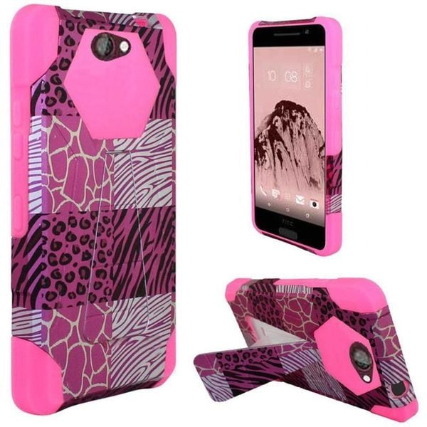 Insten Hot Pink/White Exotic Skins Hard PC/ Silicone Dual Layer Hybrid Case Cover with Stand For HTC One A9