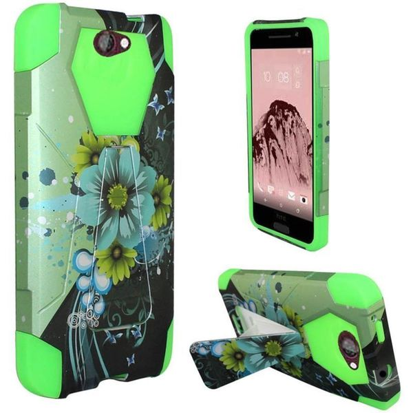 Insten Blue/Green Sublime Flower Hard PC/ Silicone Dual Layer Hybrid Case Cover with Stand For HTC One A9