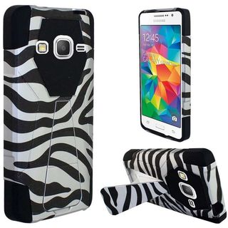 Insten Black/White Zebra Hard PC/ Silicone Dual Layer Hybrid Case Cover with Stand For Samsung Galaxy Grand Prime