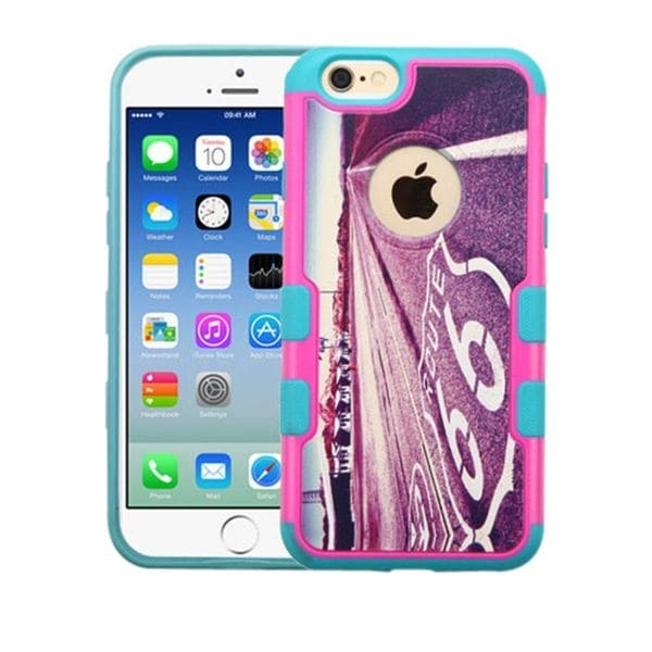 Insten Purple/ Pink Historic Route 66 Hard Snap-on Rubberized Matte Case Cover For Apple iPhone 6/ 6s