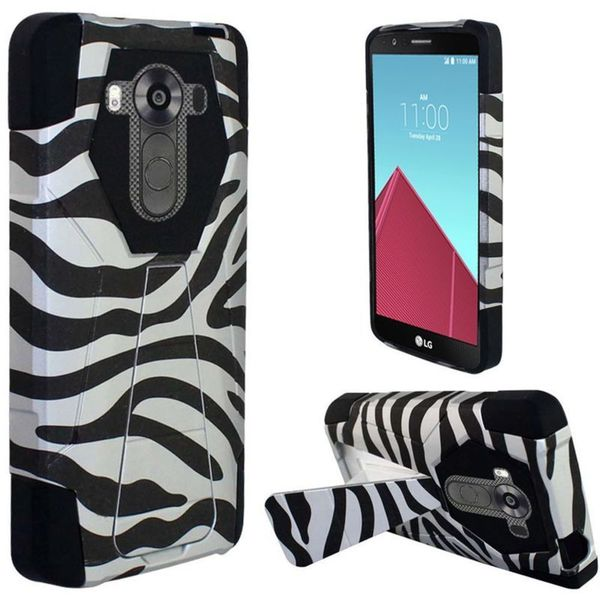 Insten Black/White Zebra Hard PC/ Silicone Dual Layer Hybrid Case Cover with Stand For LG G4 Pro