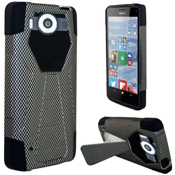 Insten Black Carbon Fiber Hard PC/ Silicone Dual Layer Hybrid Case Cover with Stand For Microsoft Lumia 950