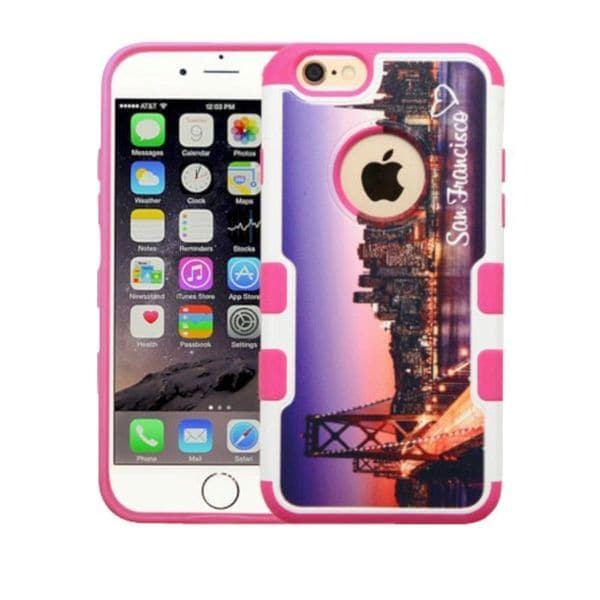 Insten Purple/ Pink San Francisco Skyline Hard Snap-on Rubberized Matte Case Cover For Apple iPhone 6 Plus/ 6s Plus