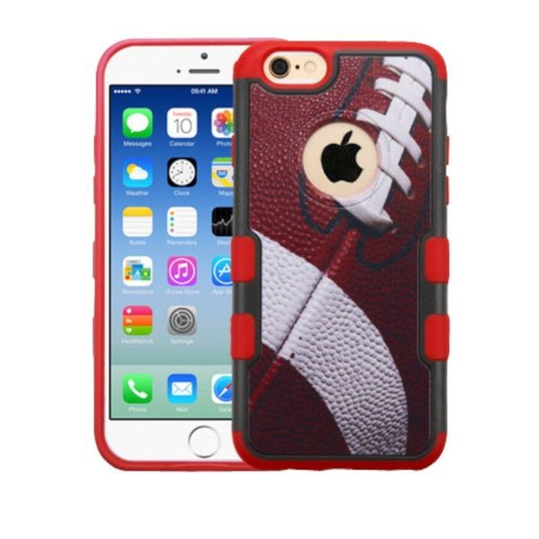 Insten Red/ White Football Hard Snap-on Rubberized Matte Case Cover For Apple iPhone 6/ 6s