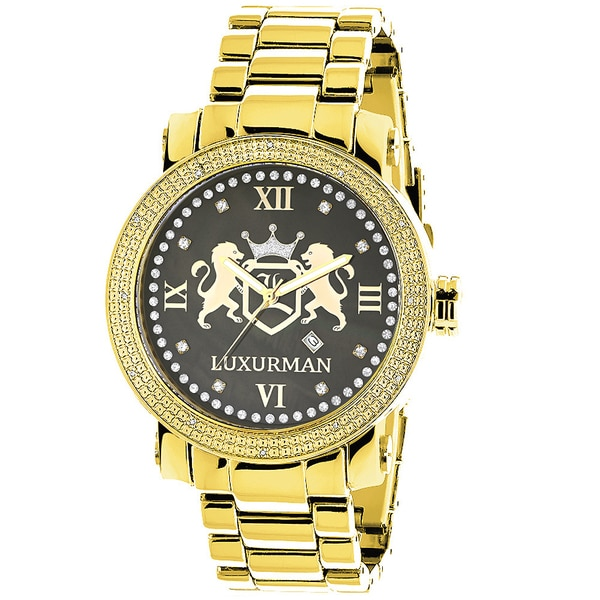 Luxurman Yellow Gold Plated Watches: Large Mens Diamond Watch Phantom 16894245