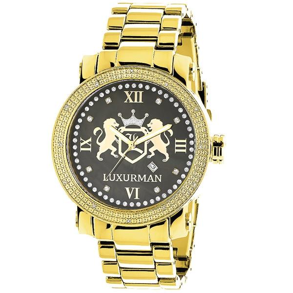 LUXURMAN YELLOW GOLD PLATED WATCHES: LARGE MENS DIAMOND WATCH PHANTOM