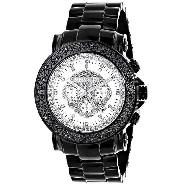 LUXURMAN ESCALADE OVERSIZED MENS BLACK DIAMOND WATCH 0.25CT WHITE MOP