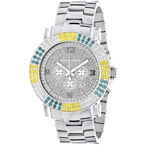 Luxurman Mens Escalade Large Multi-color 4ct TDW Diamond Watch