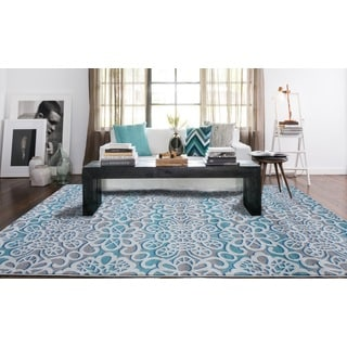 Grey/ Turquoise Indoor Area Rug (5'3 x 7'5)