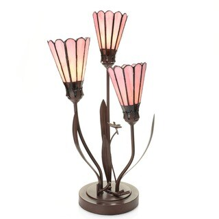 Andalia 3-light Pink Lily 22-inch Tiffany-style Table Lamp