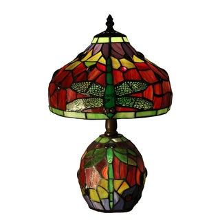 Rojas Double-lit Red Dragonfly 16-inch Tiffany-style Table Lamp